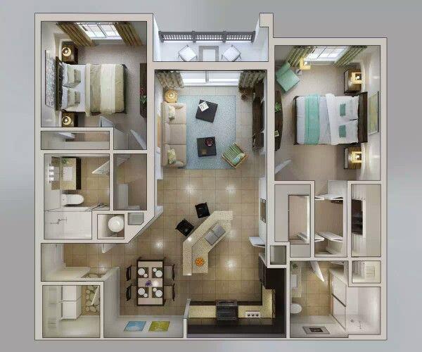 Distribución Wohnungsgrundrisse, Wohnung, Zwei zimmer