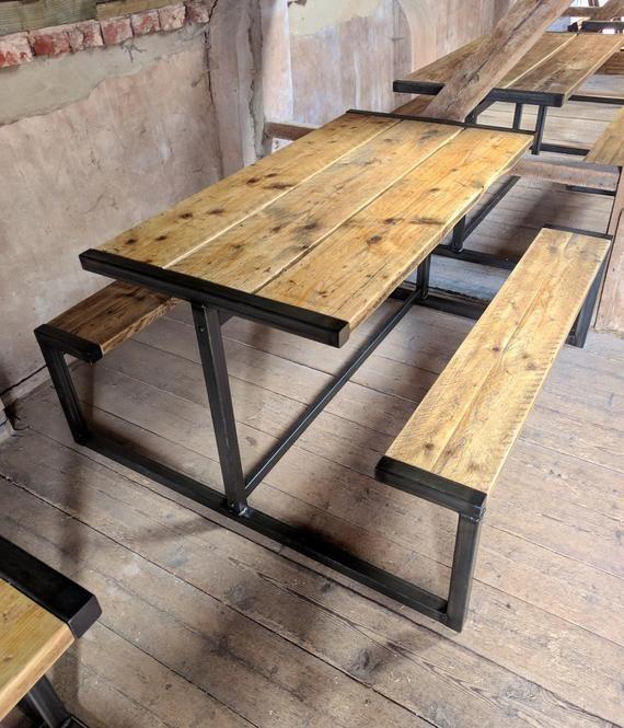 Industriele Stijl Pub Bank Picnic Tafel Etsy Industrial