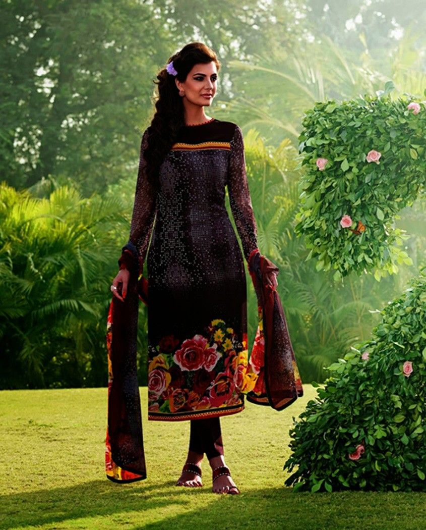 Multicolor long suit with floral border multicolor printed