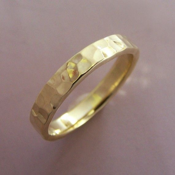 18k Yellow Gold Wedding Ring Hand Hammered Choose a Width from 2-8 mm by esdesigns