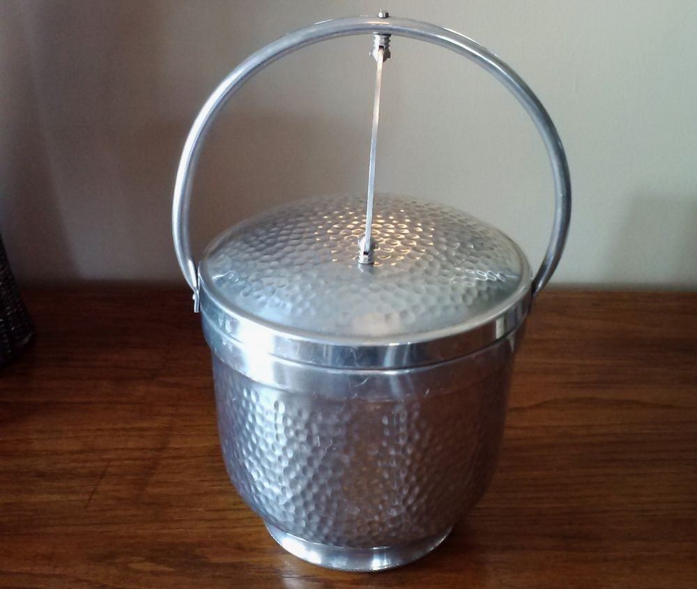 Vintage Hammered Aluminum Hinged ICE BUCKET MADE IN ITALY SB-501