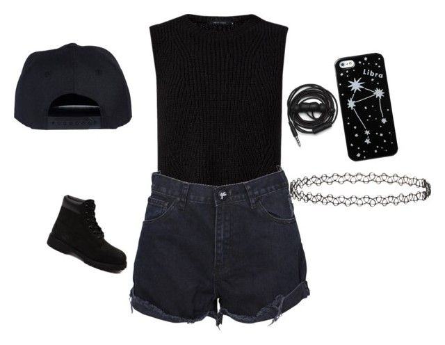 all black err thang by itz-seselovly on Polyvore featuring moda, One Teaspoon, Timberland, Topshop, Urbanears and Kate Spade Saturday