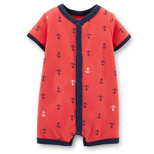 Carter's Boys Red Anchor Print Snap Front Romper