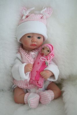 OOAK Mini Reborn baby girl doll, handmade bassinet, 2 outfits & baby bundle