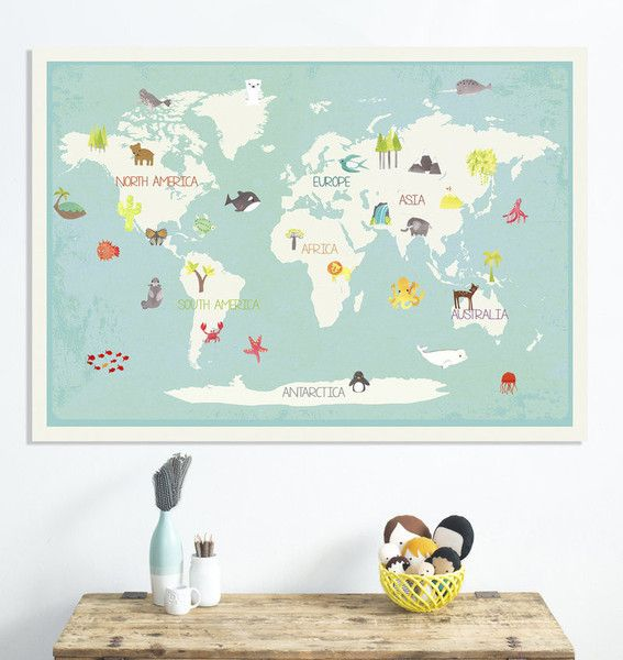 Our earth interactive map canvas or print educational travel our new 36x24 interactive world map comes with 40 adorable reusable stickers featuring animals people and natural landmarks designed for little hands gumiabroncs Image collections