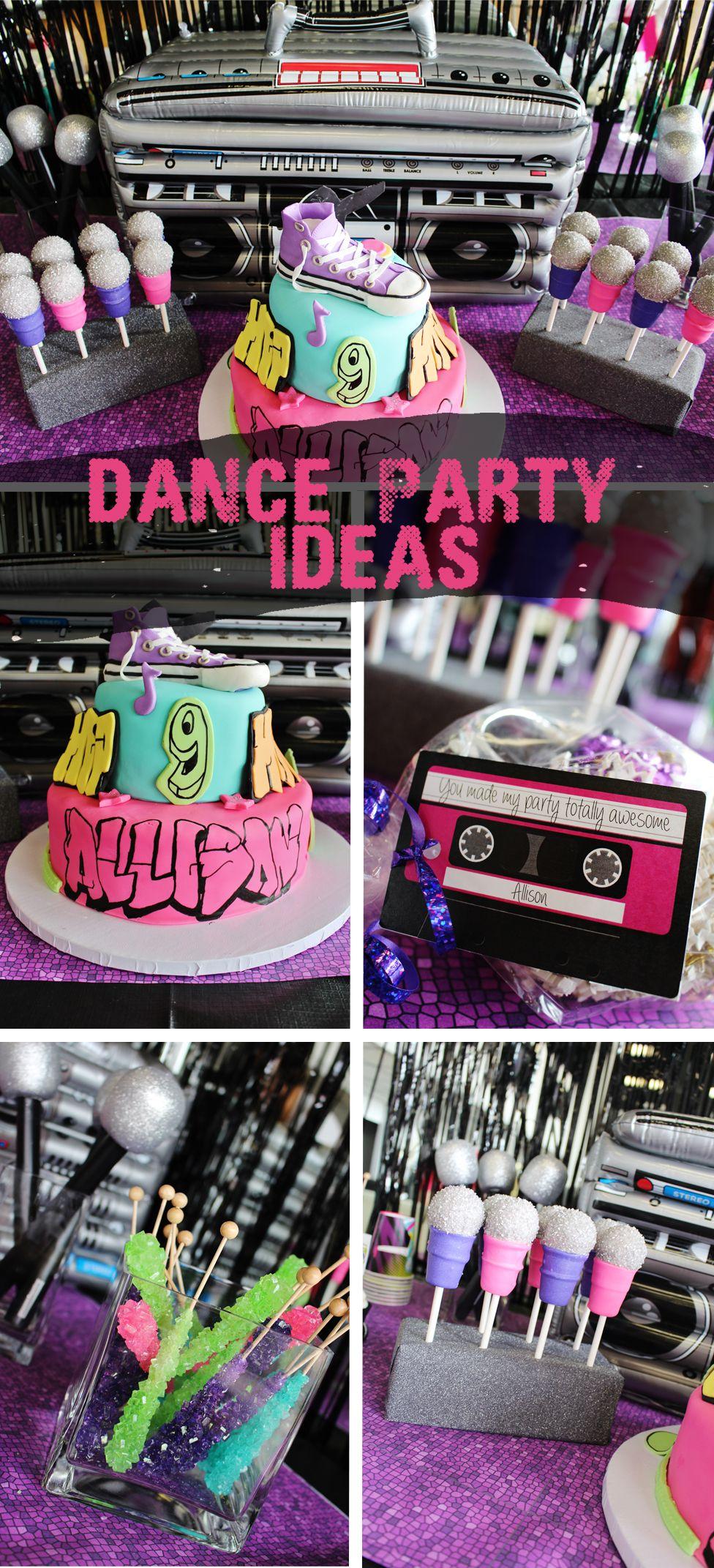 Dance Party Birthday Ideas 80s Hip Cake
