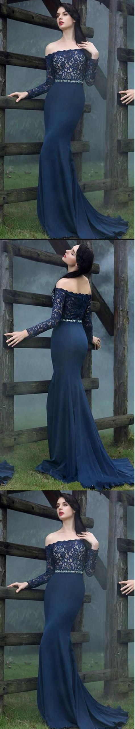 Off the shoulder prom dresseslong sleeves navy prom dressevening