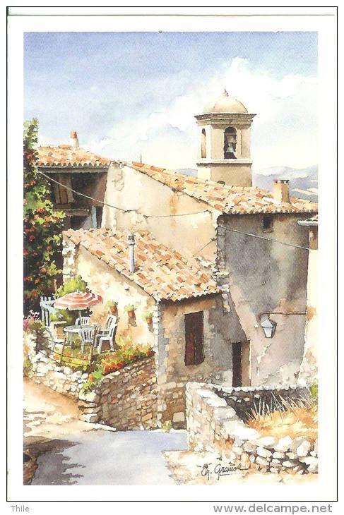 Village Du Midi Aquarelle De Christian Graniou Peintures