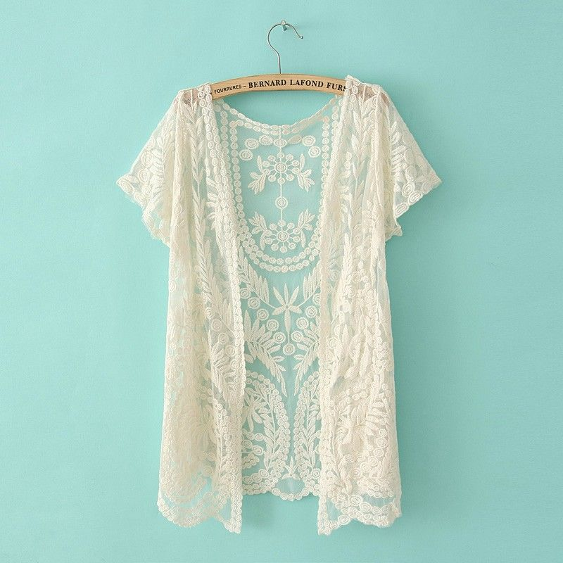 Fashion 2014 Women Blouses Plus Size Gauze Embroidery Lace Crochet ...