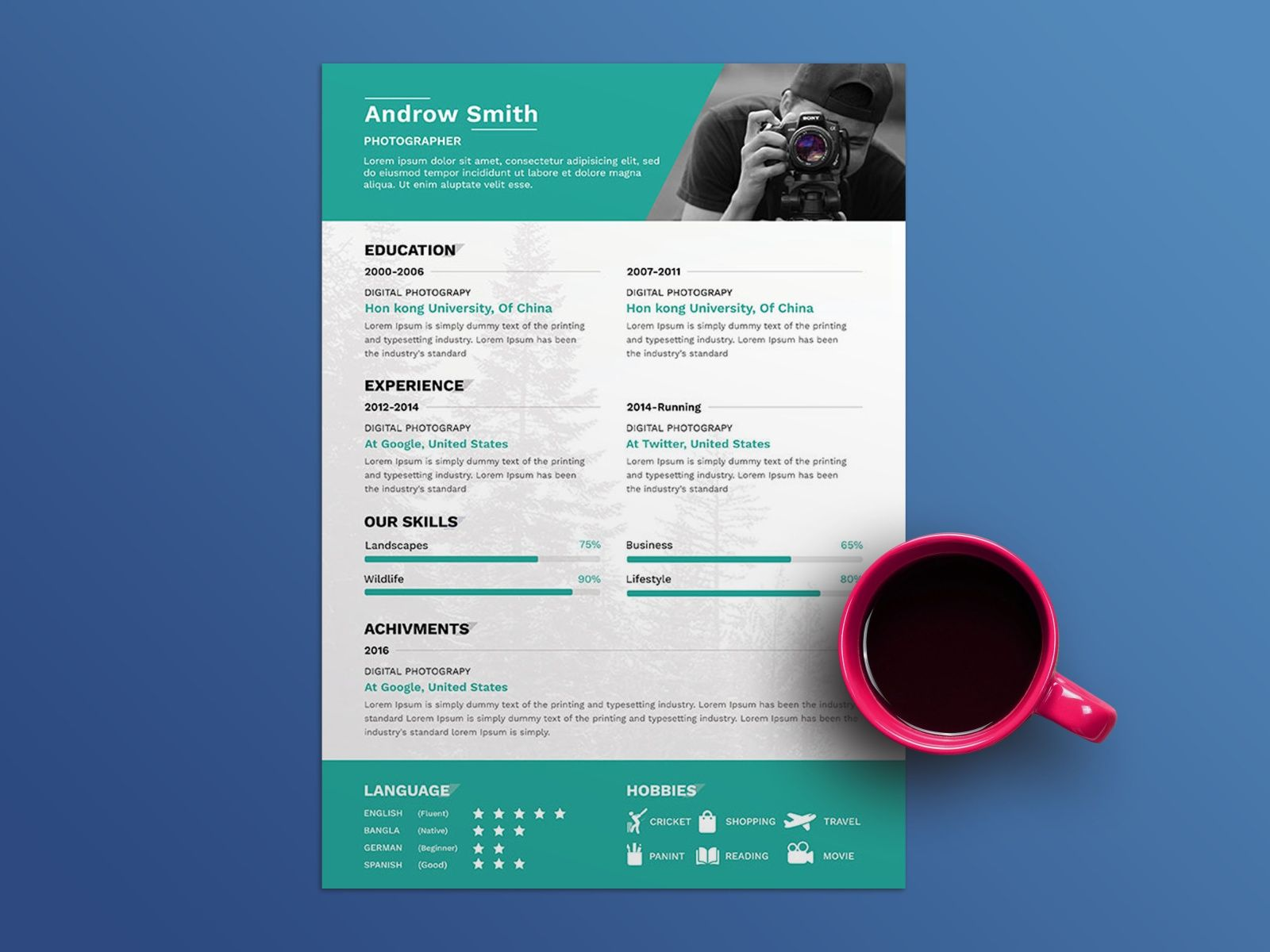 Free photographer resume template Resume template