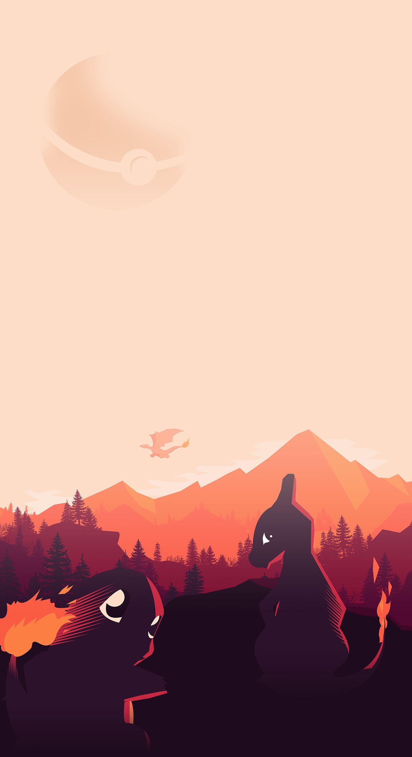 Pokemon Vector minimalist PosterFire evolution | Pokemon ...