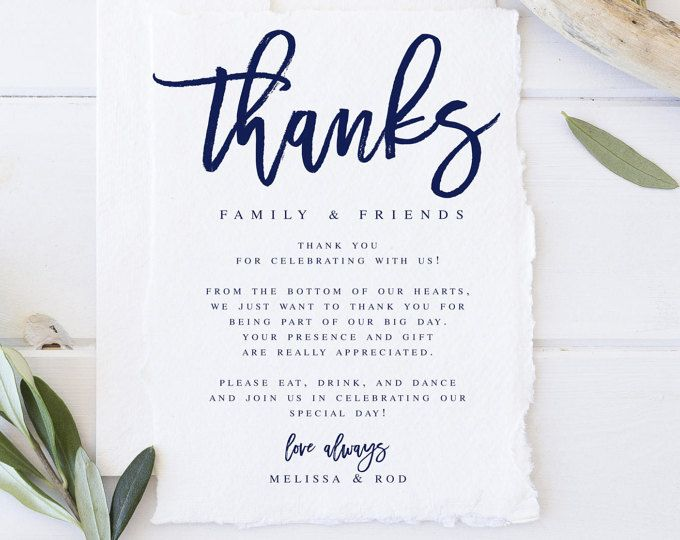Wedding Thank You Letter, Thank You Note, Printable Wedding In Lieu