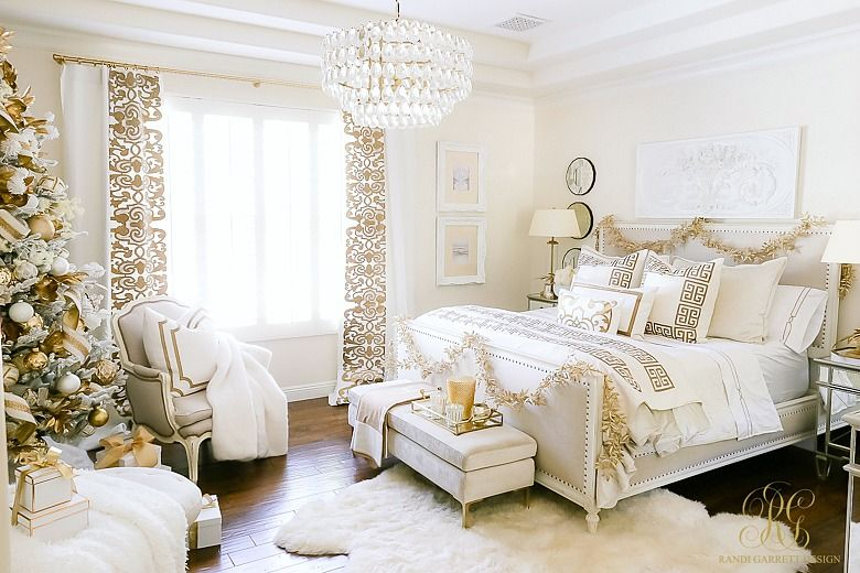 Elegant White And Gold Christmas Bedroom Tour Randi Garrett Design Gold Bedroom Decor Gold Bedroom White And Gold Bedding