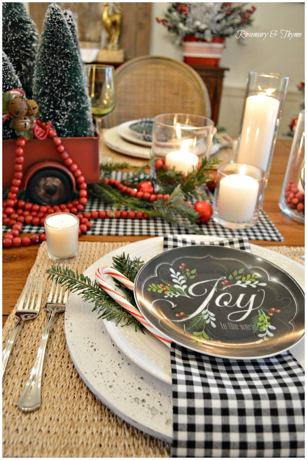 A Country Christmas Tablescape Christmas Party Table Buffalo Check Christmas Decor Christmas Table Settings