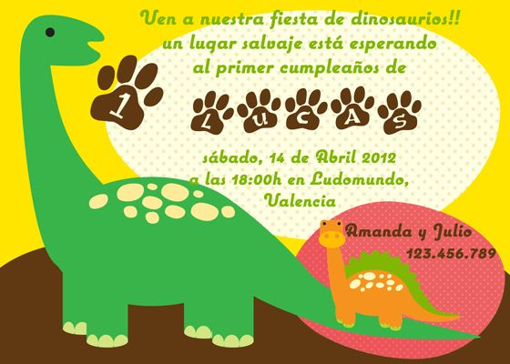Invitaciónes De Dinosaurios Gratis Para Imprimir Imagui Dinosaur Invitations Dinosaur Birthday First Birthdays