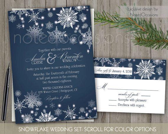 Winter Wedding Invitation Printable Set Winter Snowflakes Navy Blue Snowf Winter Wedding Invitations Snowflake Wedding Invitation Printable Wedding Invitations
