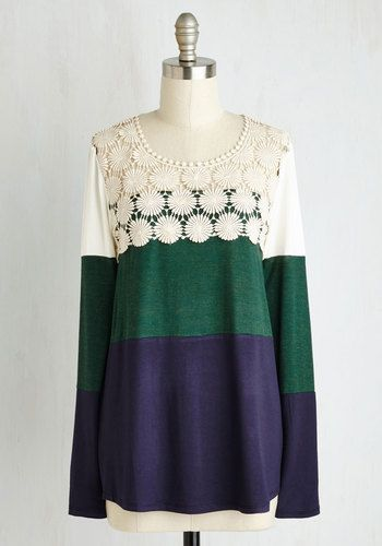 Not a Moment Too Bloom Top - Mid-length, Jersey, Knit, Green, Blue, White, Stripes, Print, Crochet, Colorblocking, Long Sleeve, Better, Scoop