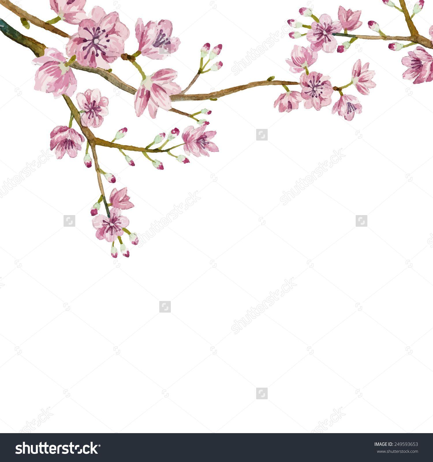 Japanese Tree Border Watercolor Sakura Frame Background With Blossom Branch Drawing Japanese Tree Art Tattoo