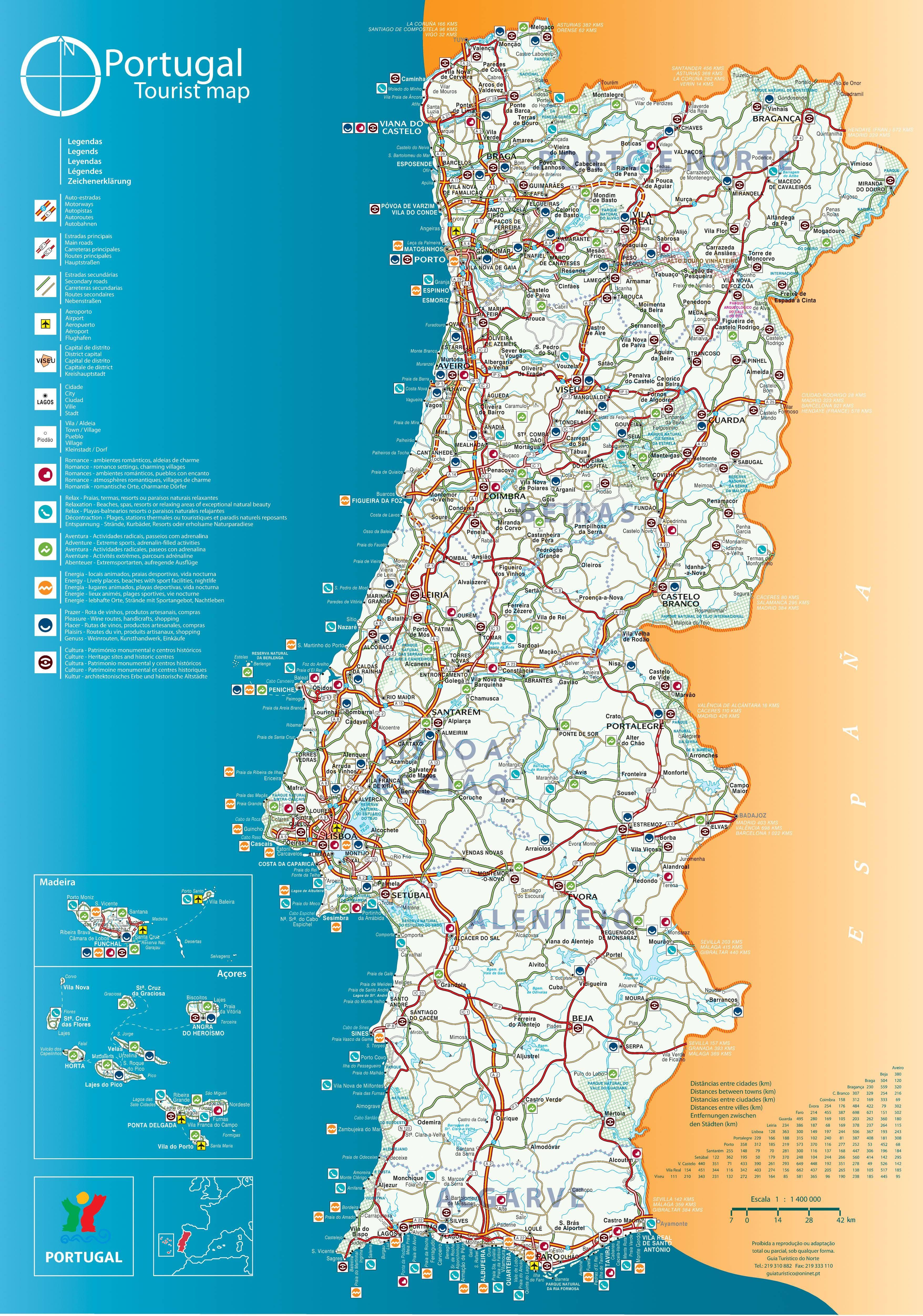 carte du sud du portugal Carte du Portugal en 2020 | Carte portugal, Portugal tourisme