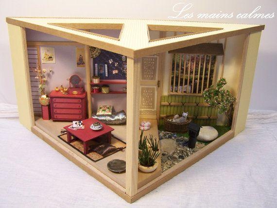 diorama miniature de style japonais 1 24 me maisons vitrines miniatures pinterest tapes. Black Bedroom Furniture Sets. Home Design Ideas