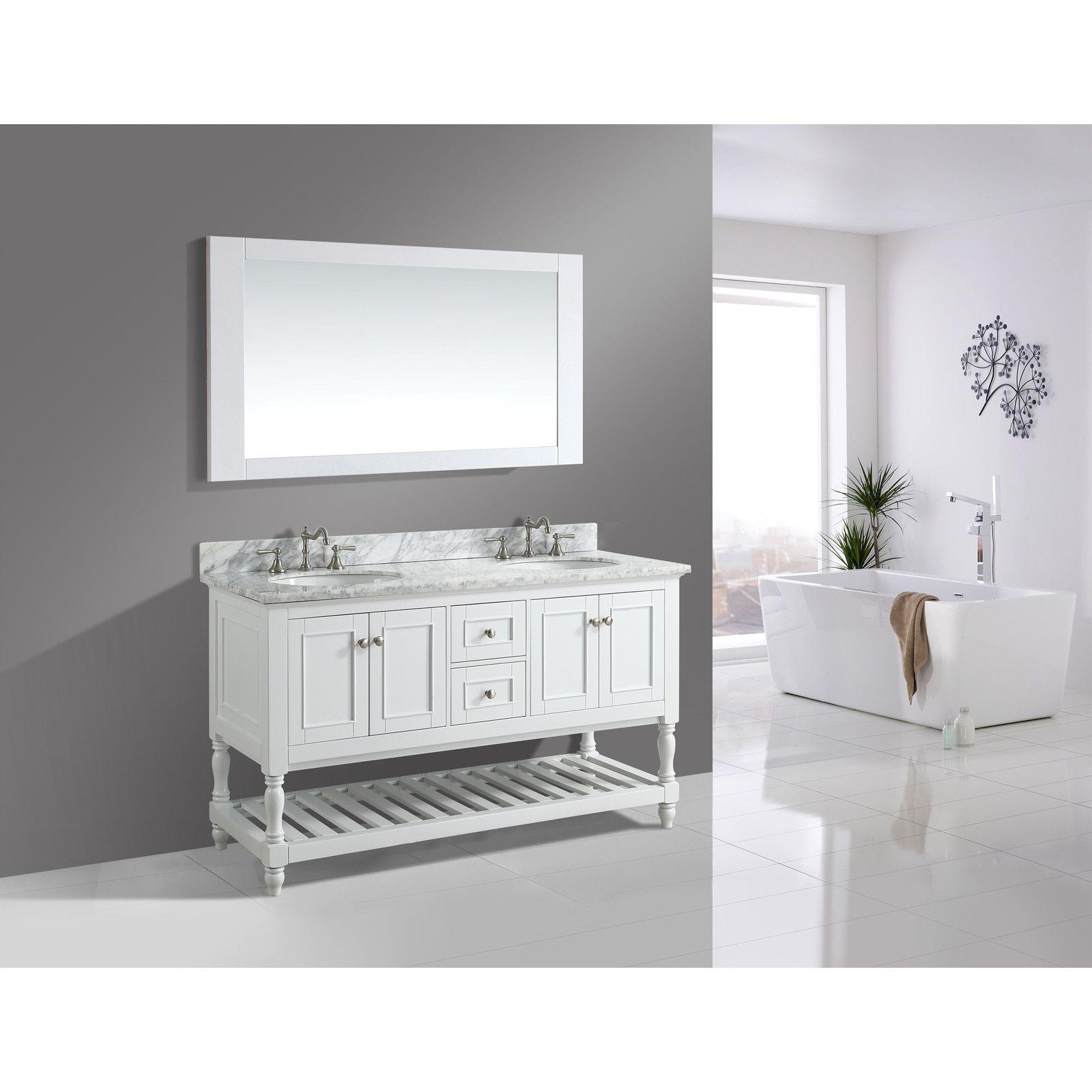 Silvia\' 60-inch Bathroom Sink Vanity Set with White Marble Top ...