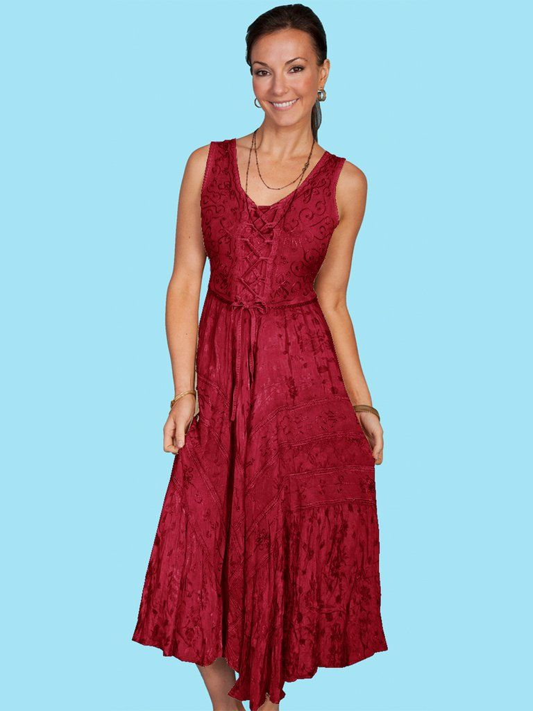 Scully Honey Creek Womens Burgundy Rayon Lace Up Peasant Tiered Dress In 2020 Cowgirl Dresses Tiered Dress Dresses
