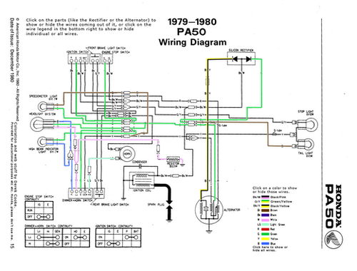 Awesome Interactive Diagram Of The Honda Hobbit Pa50 Wiring System Click Through Moped Honda Diagram Vintage Moped