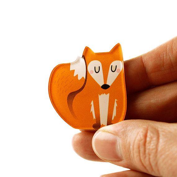 Renard de broche, broche Fox, Badge, broche acrylique, verre acrylique