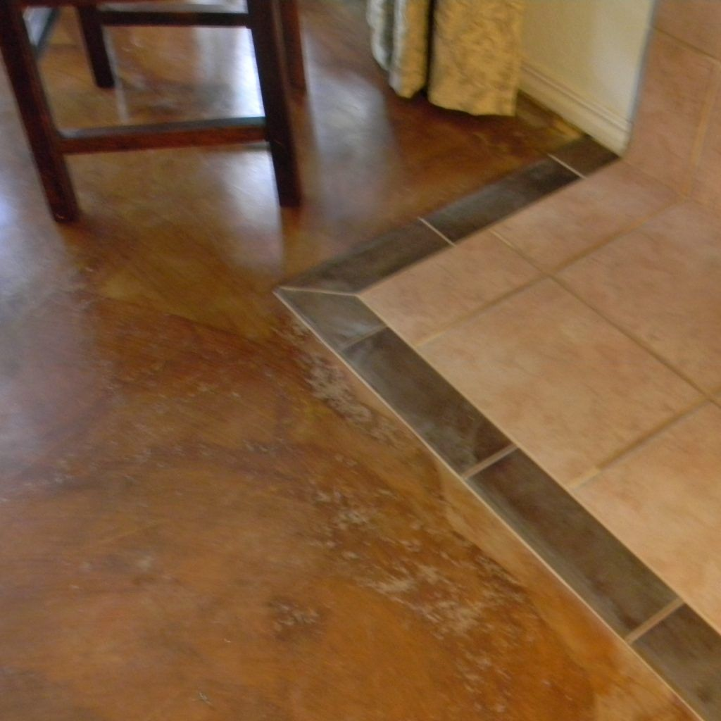 Floor Transition Tile To Concrete Concrete Stained Floors Diy Stained Concrete Floors Concrete Tile Floor