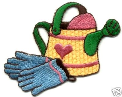 Spring Embroidered Iron On Applique Patch Watering Can Garden Gardening