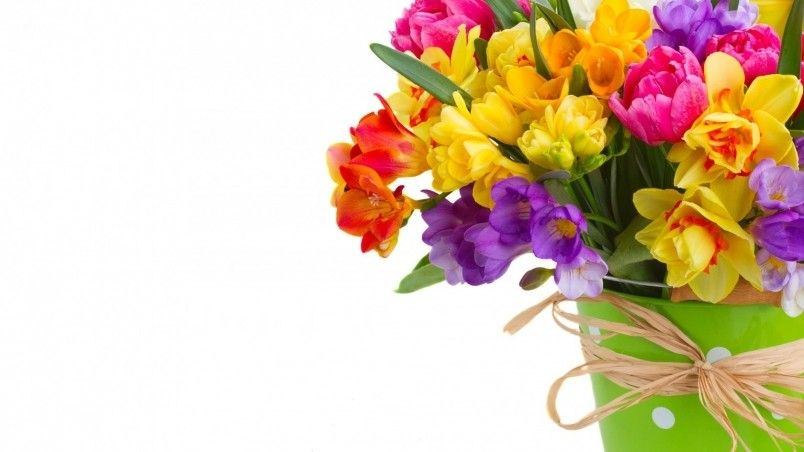 Daffodils And Freesias Bouquet Hd Wallpaper Wallpaperfx Freesia Bouquet Daffodils Daffodil Bouquet