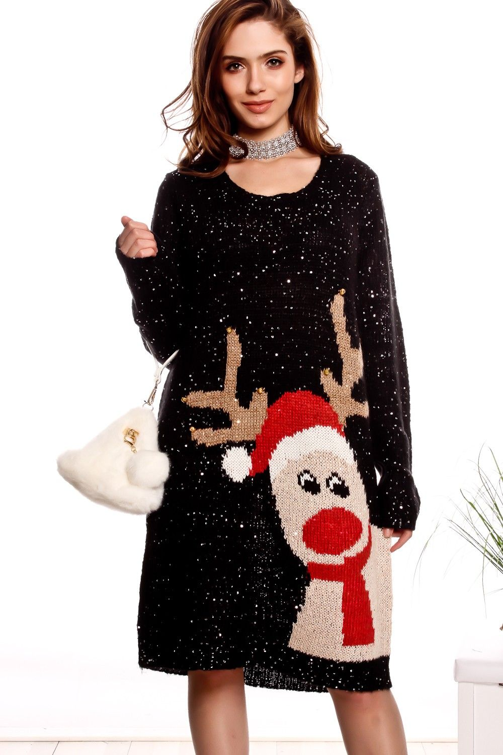BLACK SEQUIN ACCENT LONG SLEEVE UGLY CHRISTMAS SWEATER DRESS ...