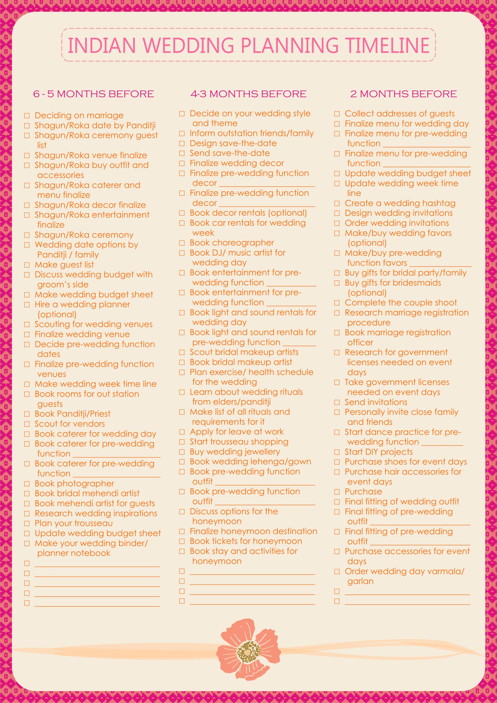 Indian Wedding Planning Checklist Wedding Planning List Indian Wedding Planning Wedding Planning Timeline