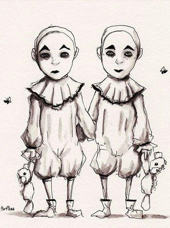 близнецы картинки нарисовать днем