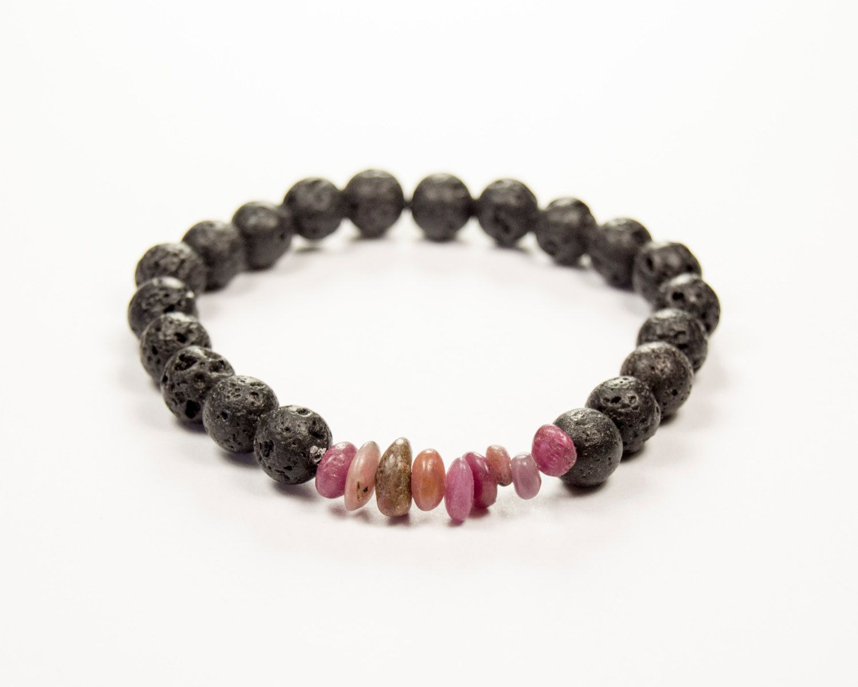 ADHD - Hyperactivity - Ruby & Lava bracelet - Essential Oil diffuser by GemsdeVine on Etsy
