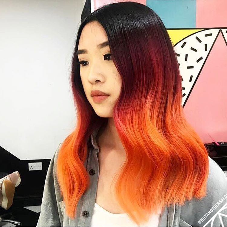 17 Stunning Hair Colours You Will Want To Try This Summer Orange Ombre Hair Ombre Hair Purple Ombre Hair