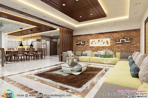 Beautiful Living And Dining Room Interiors Ceiling Design Living