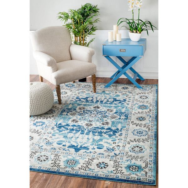 nuLOOM Traditional Persian Fancy Aqua Rug ($140) ❤ liked on Polyvore featuring home, rugs, blue, blue floral area rug, rectangular rugs, blue geometric rug, woven rugs and geometric area rug