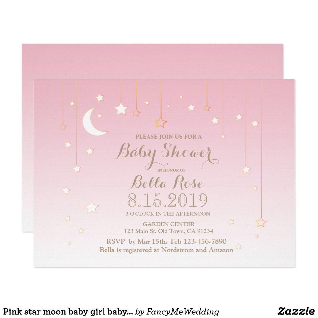 Pink star moon baby girl baby shower invitation Soft and dreamy 8ab27b585