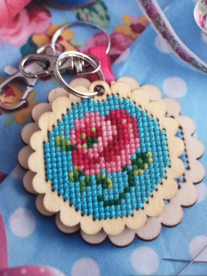 cute lil wooden cross stitch keyring from a kit in cross stitcher mag april 2013 264. x