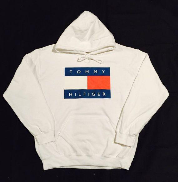 White Tommy Hilfiger Logo Hoodie Sweatshirt Vintage 90s Streetwear Fashion