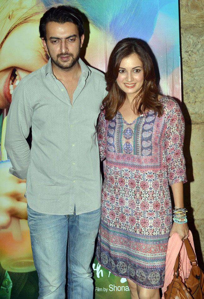 Dia Mirza with hubby Sahil Sangha at the screening of 'Margarita With A Straw'. #Bollywood #Fashion #Style #Beauty