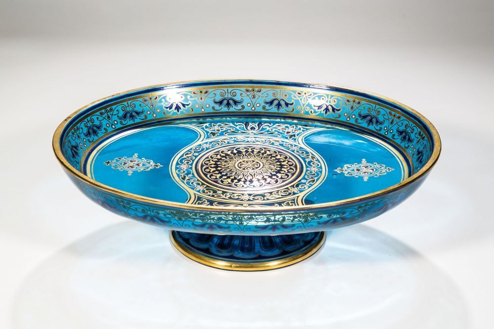 Footed Bowl Of Aquamarine Glass With Oriental Style Decorative