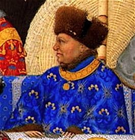 John of Valois, the Magnificent (1340-1416)Duke of Berry & Auvergne, Count of Poitiers & Montpensier; third son of King John II of France & Bonne of Luxemburg; brother of Charles V, King of France, Louis I of Anjou, King of Naples & Philip the Bold, Duke of Burgundy. Father of Bonne of Berry.  19th ggf