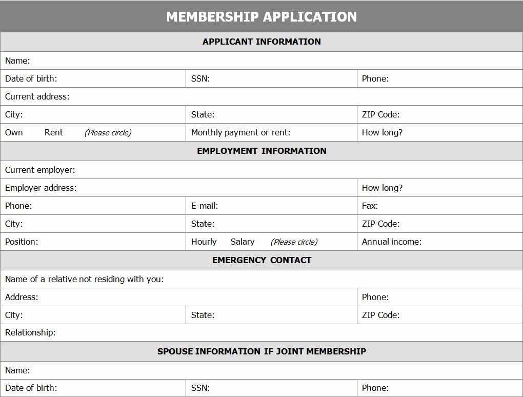 Organization Membership Form Template Awesome Membership Application Form Word Template Membership Card Card Template