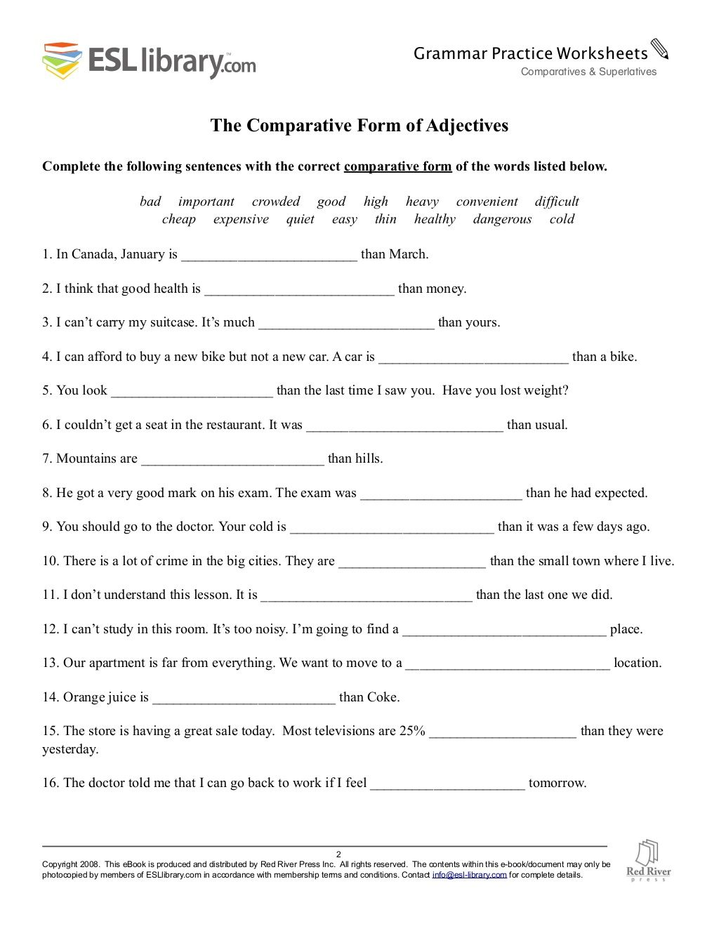 Comparatives Superlatives Worksheet With Answers In