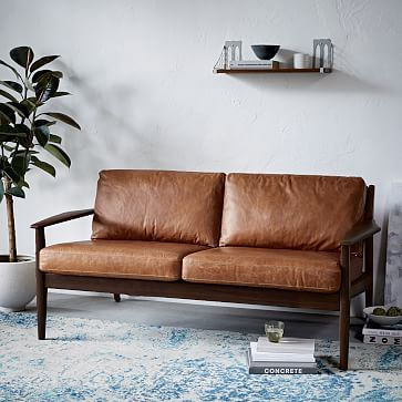 Mathias Mid Century Wood Frame Leather Sofa Westelm Modern Furniture Living Room Furniture Wooden Couch