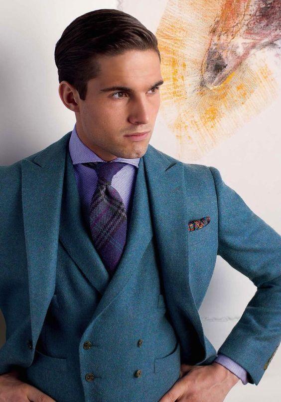 2017 Latest Coat Pant Designs Blue Tweed Men Suit Slim Fit Tuxedo 3 ...