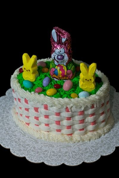 Pin by tonya macphee on easter pinterest cake basket easter cake basket weave with peeps and chocolate bunny toppers negle Images