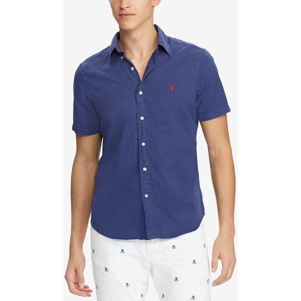 Polo Ralph Lauren Men\u0027s Slim Fit Twill Shirt ($85) ? liked on Polyvore  featuring men\u0027s fashion, men\u0027s clothing, men\u0027s shirts, new classic navy,  men\u2026